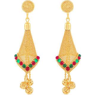 MJ Floral Gold Plated Dangler Earring For Women