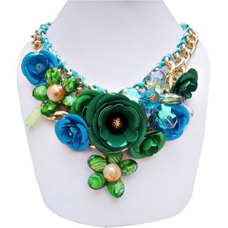 Lucky Jewellery Designer Funky Multi Color Floral Necklace For Girls & Women