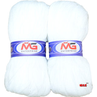 M.G MicroShine White 400 gm hand knitting Soft Acrylic yarn wool thread for Art & craft, Crochet and needle