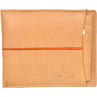 Chandair Pure Leather Peach with Orange Piping Mens Wallet (CH-NW-17)