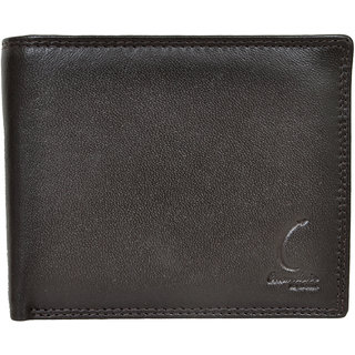 Chandair Pure Leather Dull Black Brownish Touch Mens Wallet (CH-NW-02)