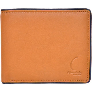 Chandair Pure Leather Tan with Blue Piping Mens Wallet (CH-NW-10)