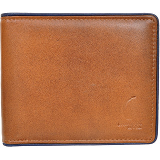 Chandair Pure Leather Brown with Blue Piping Mens Wallet (CH-NW-11)
