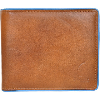 Chandair Pure Leather Brown with Light Blue Piping Mens Wallet (CH-NW-14)