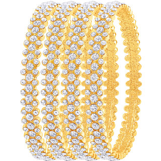 MJ Fashionable One Gram Gold Plated Pack Of 4 Bangle For Women