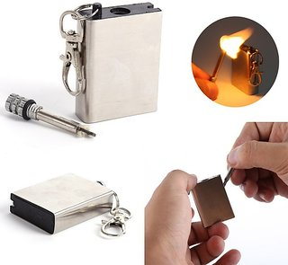 Fire Starter Flint Match Emergency Lighter Metal Outdoor Camping Hiking Instant Survival Tool Safety Durable Key Chain