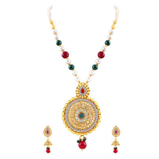 MJ Structural Gold Plated Necklace Set For Women