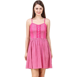 Texco Women'S Pink Polka Dot Summer Dress