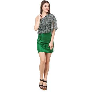 Texco Women'S Green One Off Shoulder Dress