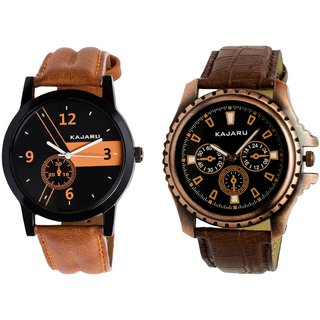 Kajaru KJR-4,5 Round Black Dial Analog Watch Combo for Men