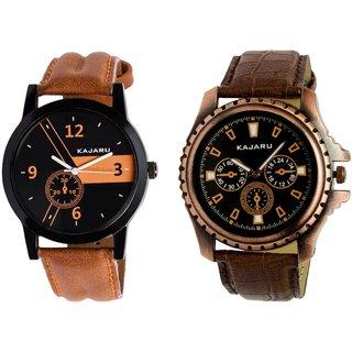 Kajaru KJR-4,10 Round Black Dial Analog Watch Combo for Men