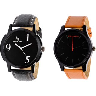 Kajaru KJR-5,13 Round Black Dial Analog Watch Combo for Men