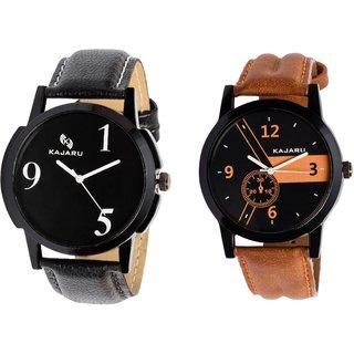 Kajaru KJR-5,4 Round Black Dial Analog Watch Combo for Men