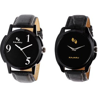 Kajaru KJR-5,8 Round Black Dial Analog Watch Combo for Men