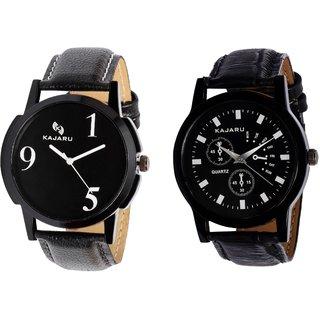 Kajaru KJR-5,9 Round Black Dial Analog Watch Combo for Men