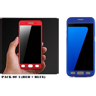 newest 132f1 491a6 360 Degree Hybrid Front Back Cover Case For Moto E3 Power - Red + Blue  Combo Offer