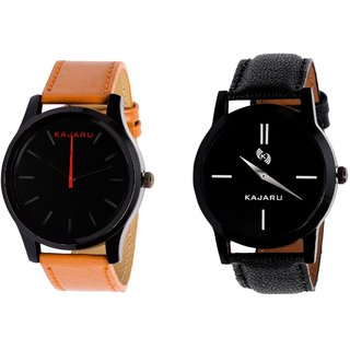 Kajaru KJR-13,7 Round Black Dial Analog Watch Combo for Men