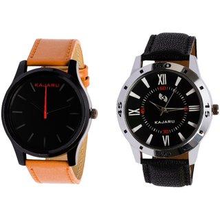 Kajaru KJR-13,10 Round Black Dial Analog Watch Combo for Men