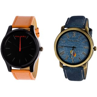 Kajaru KJR-13,11 Round Black And Blue Dial Analog Watch Combo for Men