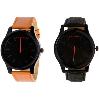 Kajaru KJR-13,12 Round Black Dial Analog Watch Combo for Men