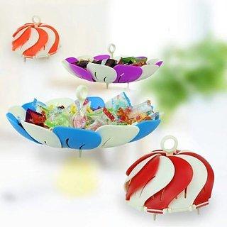 Multi-Purpose Premium Vegetable And Fruit Lotus Shape Foldable Plastic Basket./ Foldable Multipurpose Fruit Basket