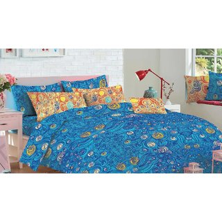 Cotton Rich 1 Double bedsheet with 2 Pillow Cover