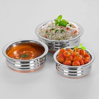Sumeet 3Pc Set of Stainless Steel Copper URLI / Cookware / Serveware / Handi / POT / Cook  Serve - Size 3 to 5