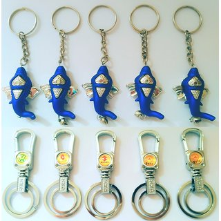 Keychain (Set of 5 Ganesh And 5 Steel Lock Design Keychain)