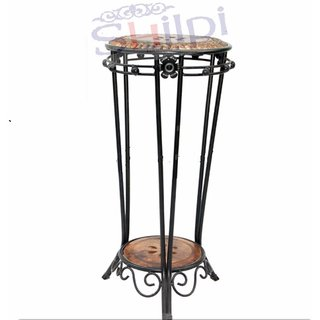 Shilpi Wooden Wrought Iron End Table / Round Shape Stool