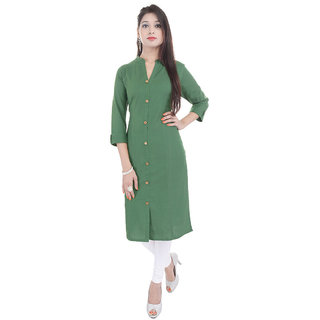 Purvahi Green Plain Cotton Stitched Casual 3/4th Sleeves Kurti