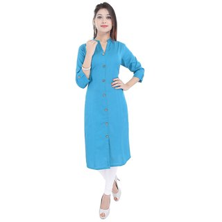 Purvahi Sky Blue Plain Cotton Stitched Kurti