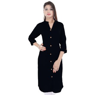 Black Cotton Stitched Kurti by Purvahi