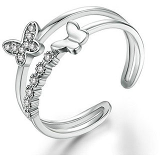 Om Jewells Rhodium Plated Fluttering Butterfly Adjustable Finger ring with CZ Stones for girls and women FR1000905