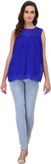Fashion meee Blue georgette pleated sleeveless top