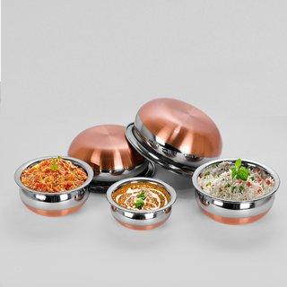 Sumeet 5Pc Set of Stainless Steel Copper Bottom Prabhu Chetty / Cookware / Serveware / Handi / POT / Cook  Serve - Size 1 to 5