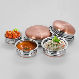 Sumeet 3Pc Set of Stainless Steel Copper URLI / Cookware / Serveware / Handi / POT / Cook  Serve - Size 1 to 5