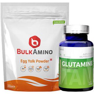 Advance Nutratech BulkAmino Egg Yolk Powder 300gram UnflavoredGlutamine supplement powder 100gm unflavored
