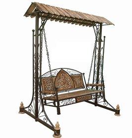 Shilpi Iron  Wooden Swings / Jhoola for Home  Garden Floor-Standing
