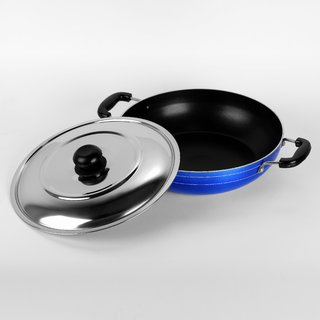 Sumeet 2.6mm Nonstick Induction Base Kadhai  240mm (No.12) with S.S. Lid (Capacity 2Ltr)