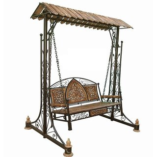 Buy Shilpi Iron Wooden Swings Jhoola For Home Garden Floor