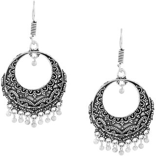 The Jewelbox Dainty Indian Jaipur Oxidized German Silver Chandbali Earring For Women