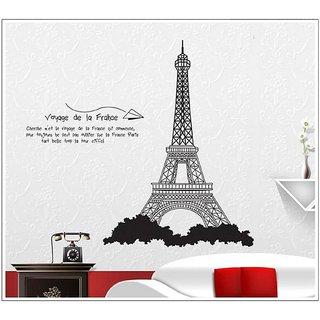 Jaamso Royals 'France Eiffel Tower black color  ' Wall Sticker (PVC Vinyl, 70 cm X 50 cm, Decorative Stickers)