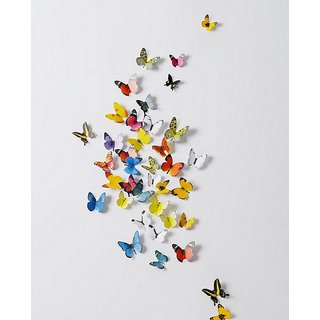 Jaamso Royals PVC Multicolor 3D Butterflies Removable & Reusable Wall Sticker (100 x 100 x 1 cm) - 19 Pieces