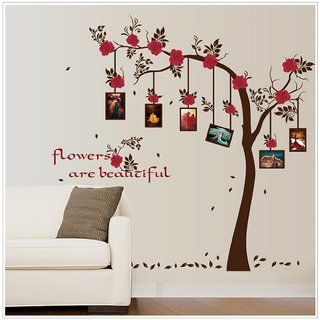 Jaamso Royals ' Photo frame family tree red flower ' Wall Sticker (PVC Vinyl, 90 cm X 60 cm, Decorative Stickers)