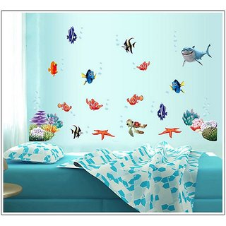 Jaamso Royals ' Under Sea Shark Fish 3D Cartoon' Wall Sticker (PVC Vinyl, 60 cm X 45 cm, Decorative Stickers)