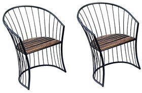 Shilpi Antique Look Solid Wood  Wrought Iron Chair / Living Room  Garden Chair For Coffee / Chair Set Of 2