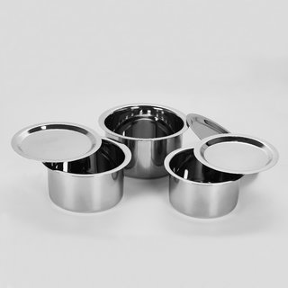 Sumeet 5 Pcs Stainless Steel Induction  Gas Stove Friendly, Heavy 18 Gauge, Flat Bottom Container Set/Tope/Cookware Set With Lids Size 12 To 14