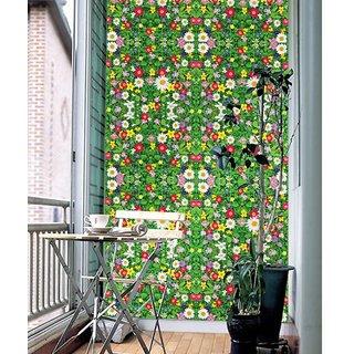 Jaamso Royals ' Modern floor sticker green grass and colorful flower  ' Wall Sticker (PVC Vinyl, 90 cm X 60 cm, Decorative Stickers)