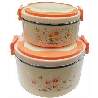 double insulated food warmer in multicolor Pack of 2 Casserole Set  (2 L  0.6 L)