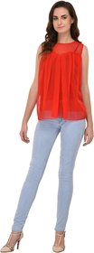 Fashion meee Red georgette pleated sleeveless top